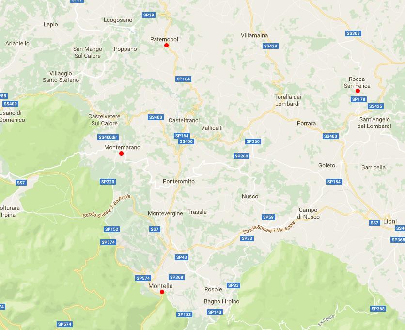 cartina Irpinia