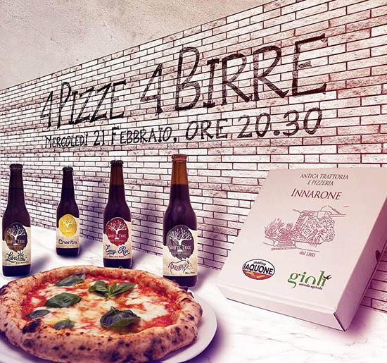 4 pizze x 4 birre